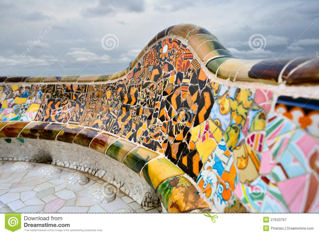 Detail Of The Bench By Gaudi In Parc Guell Stock Image