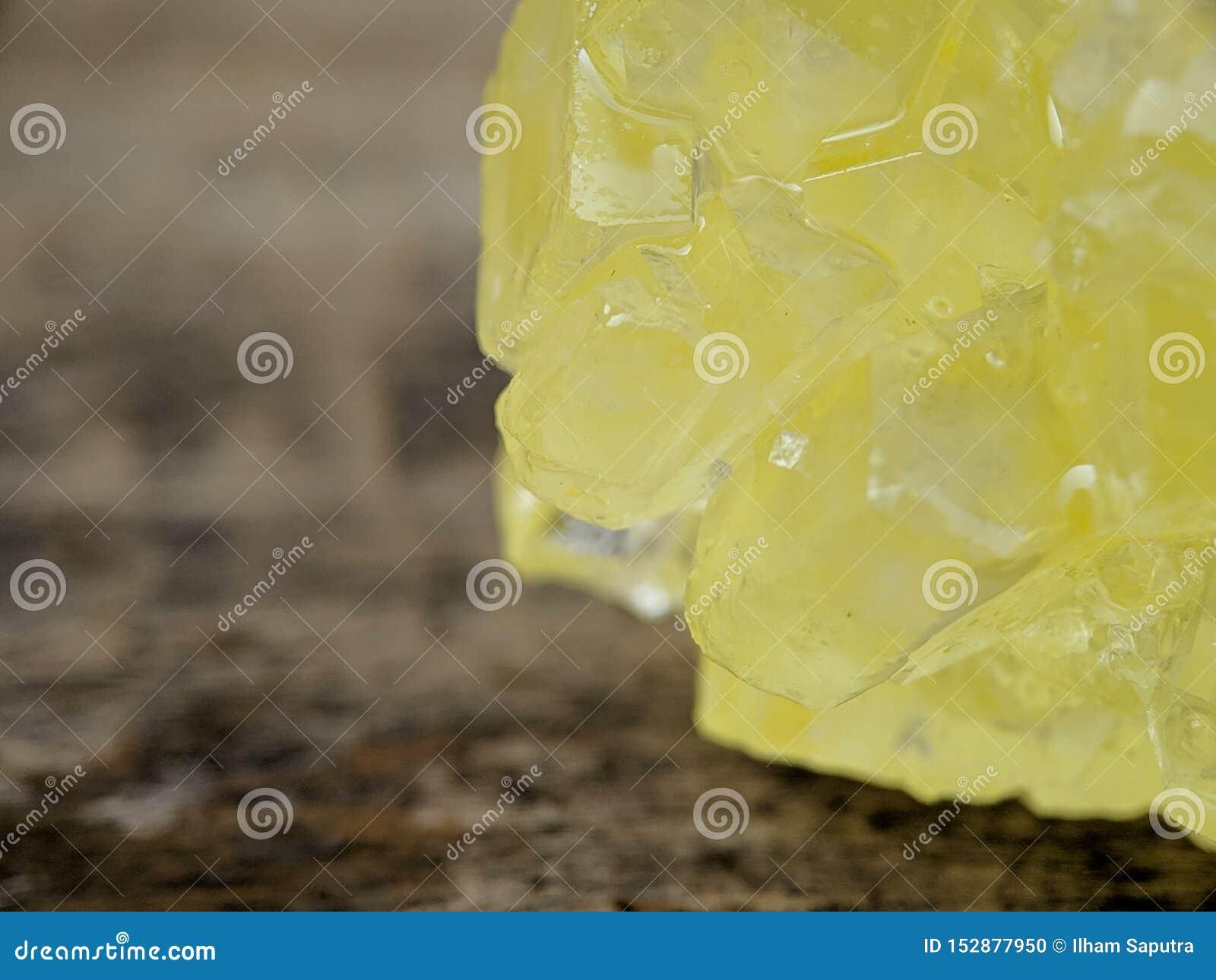 Detail of brown rock sugar on macro shot