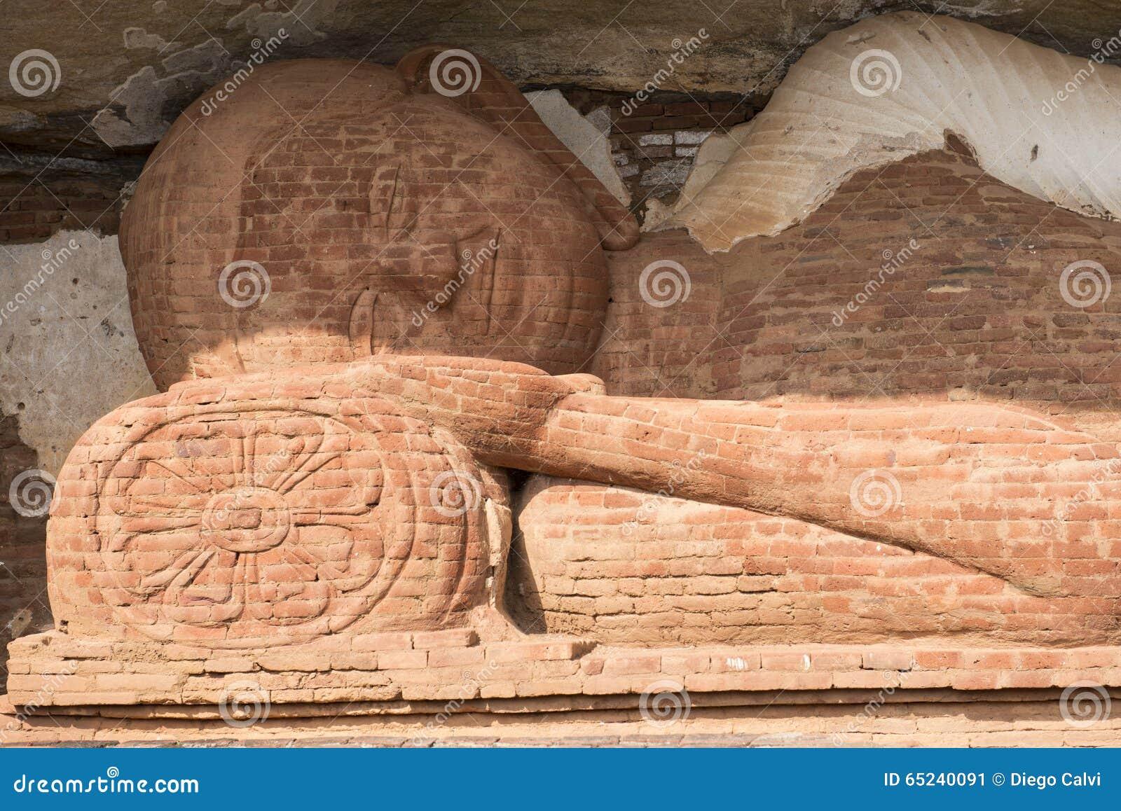Detail of Buddha lying. Sigiriya, Sri Lanka