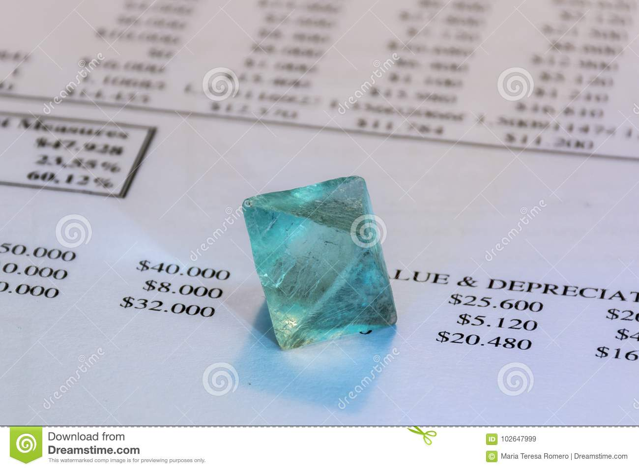 Detail Of Business Spreadsheet, Crystal  Stock Image - Image