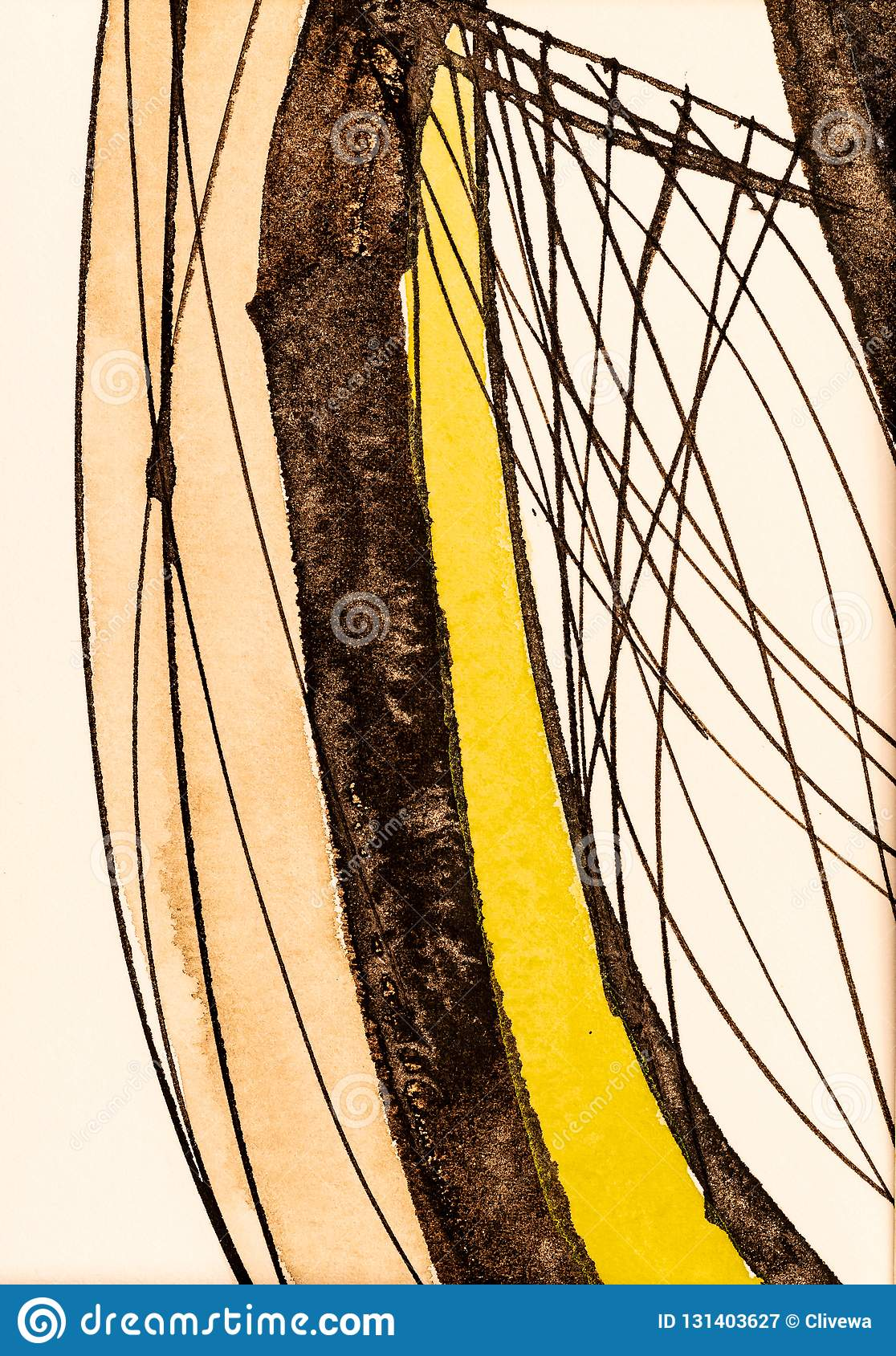 A Detail from a Calligraphic Painting with Watercolor and Ink