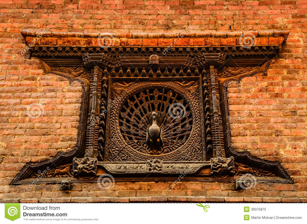 Detail of carved peacock window in bhaktapur nepal stock for Window design in nepal