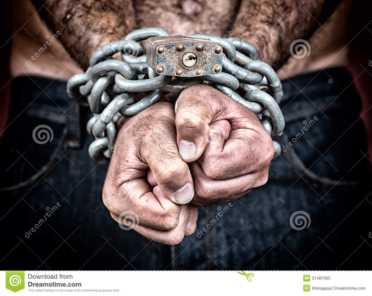 detail of the chained hands of a man stock image image of justice fist 31487065. Black Bedroom Furniture Sets. Home Design Ideas