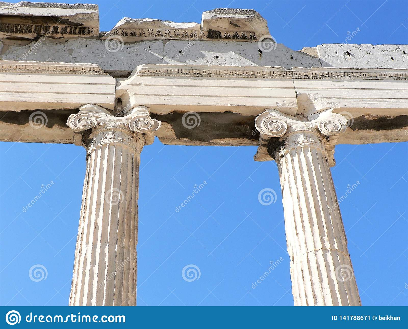 Detailed and close-up view of ancient Greek columns.