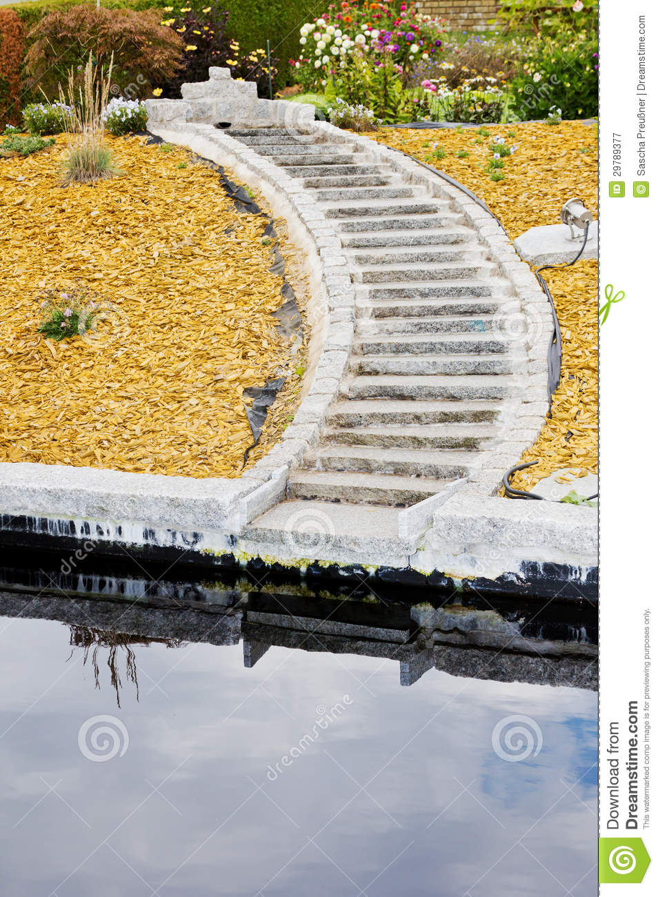 Stairs in the garden royalty free stock photography for Garden pond unlimited