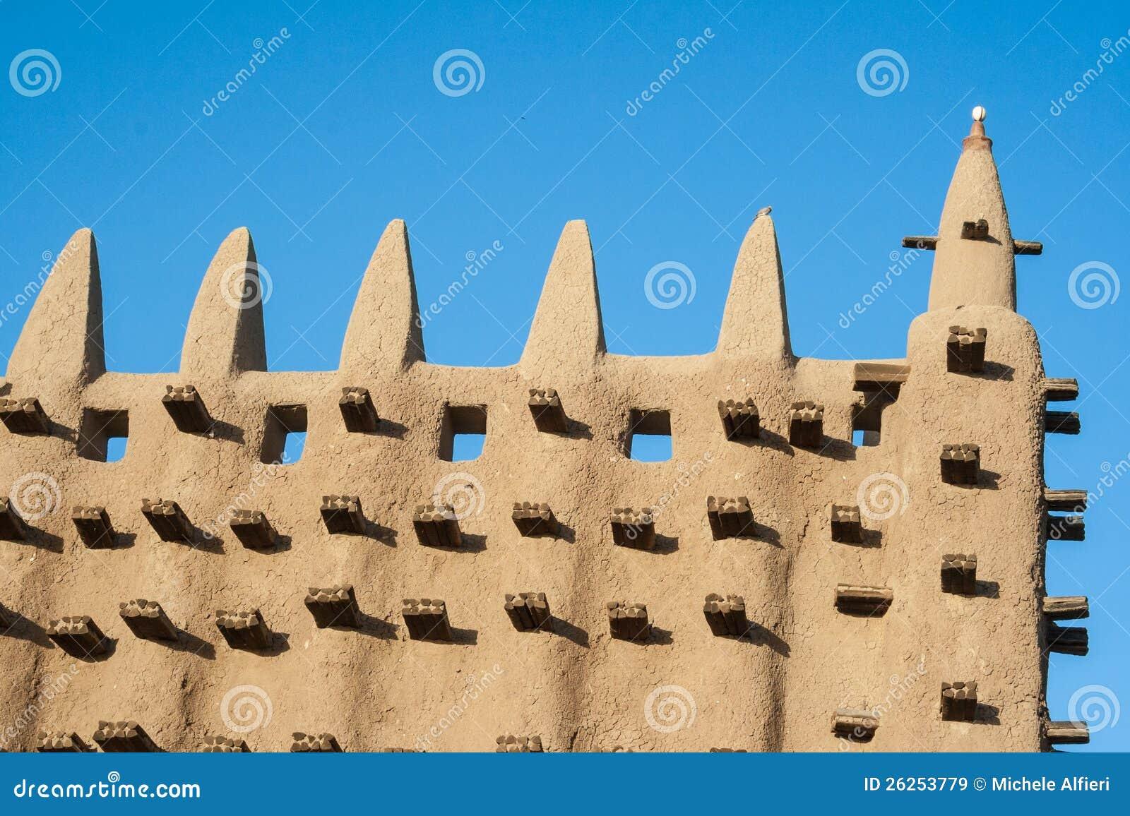 Detail der großen Moschee von Djenne, Mali.