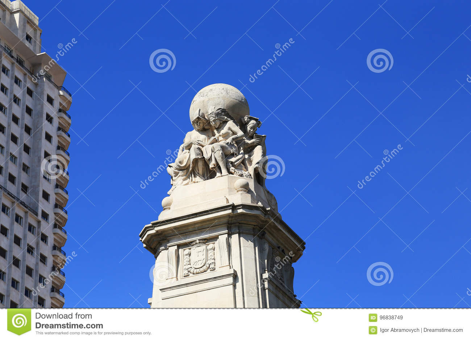 Detail des Monuments zu Cervantes, Madrid