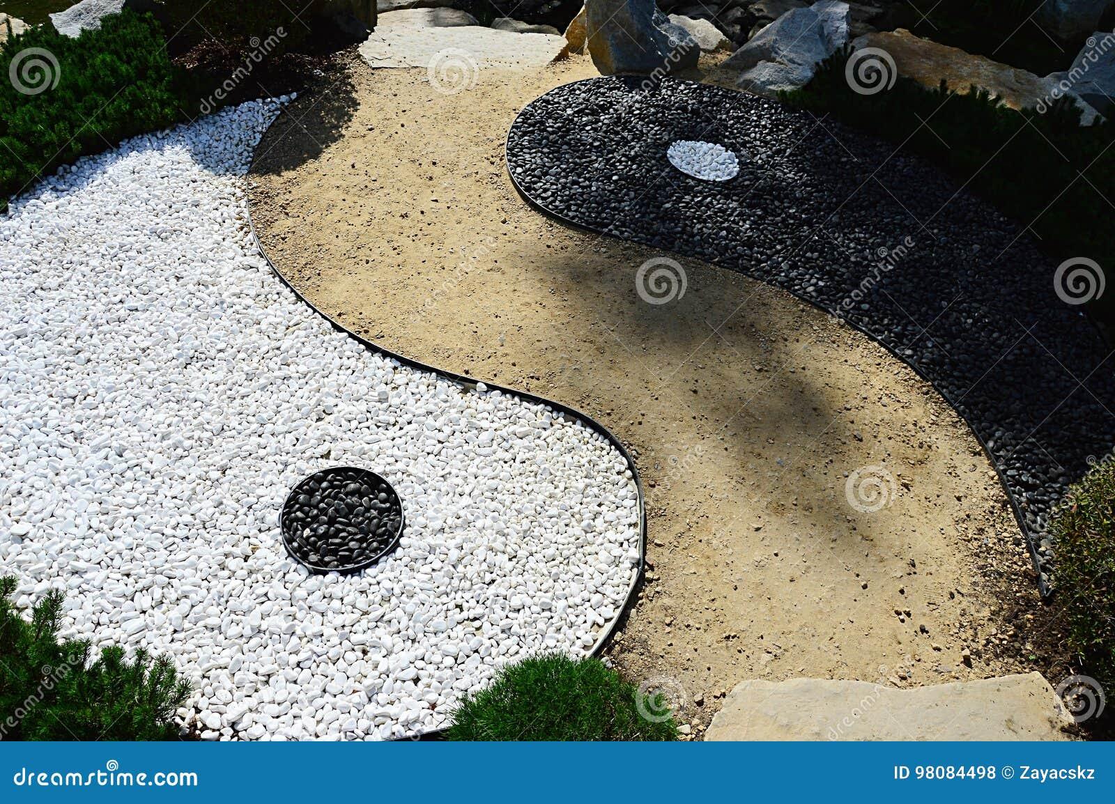Detail des Symbols des Chinesen Yin und Yangs der konträren und ergänzenden Kräfte, die als Steindekoration mit Bahn in MU-Shin g