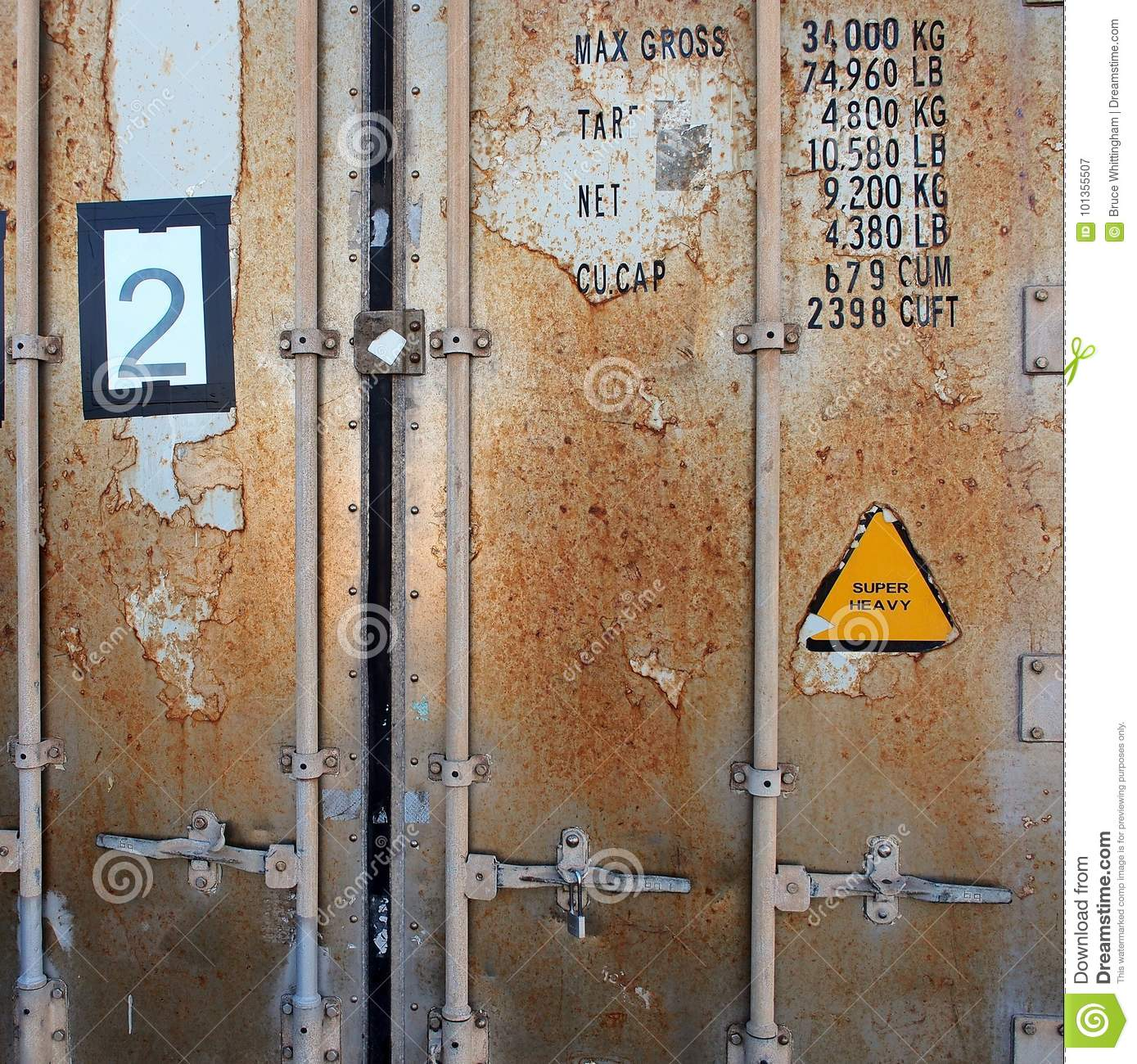 Detail Of Doors, Rusted Shipping Container Stock Image - Image of