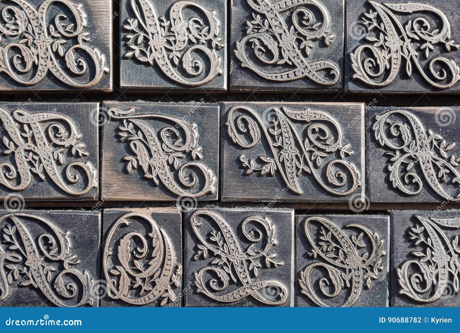 Detail einer Art Kasten für Kalligraphiebuchstaben
