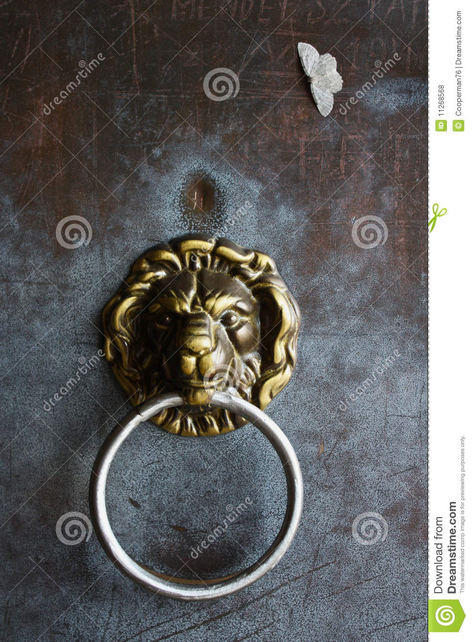 Detail of german lion door handle royalty free stock for Door handle in german