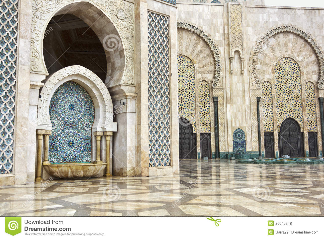 Detail Of Hassan II Mosque In Casablanca, Morocco Royalty Free Stock ...