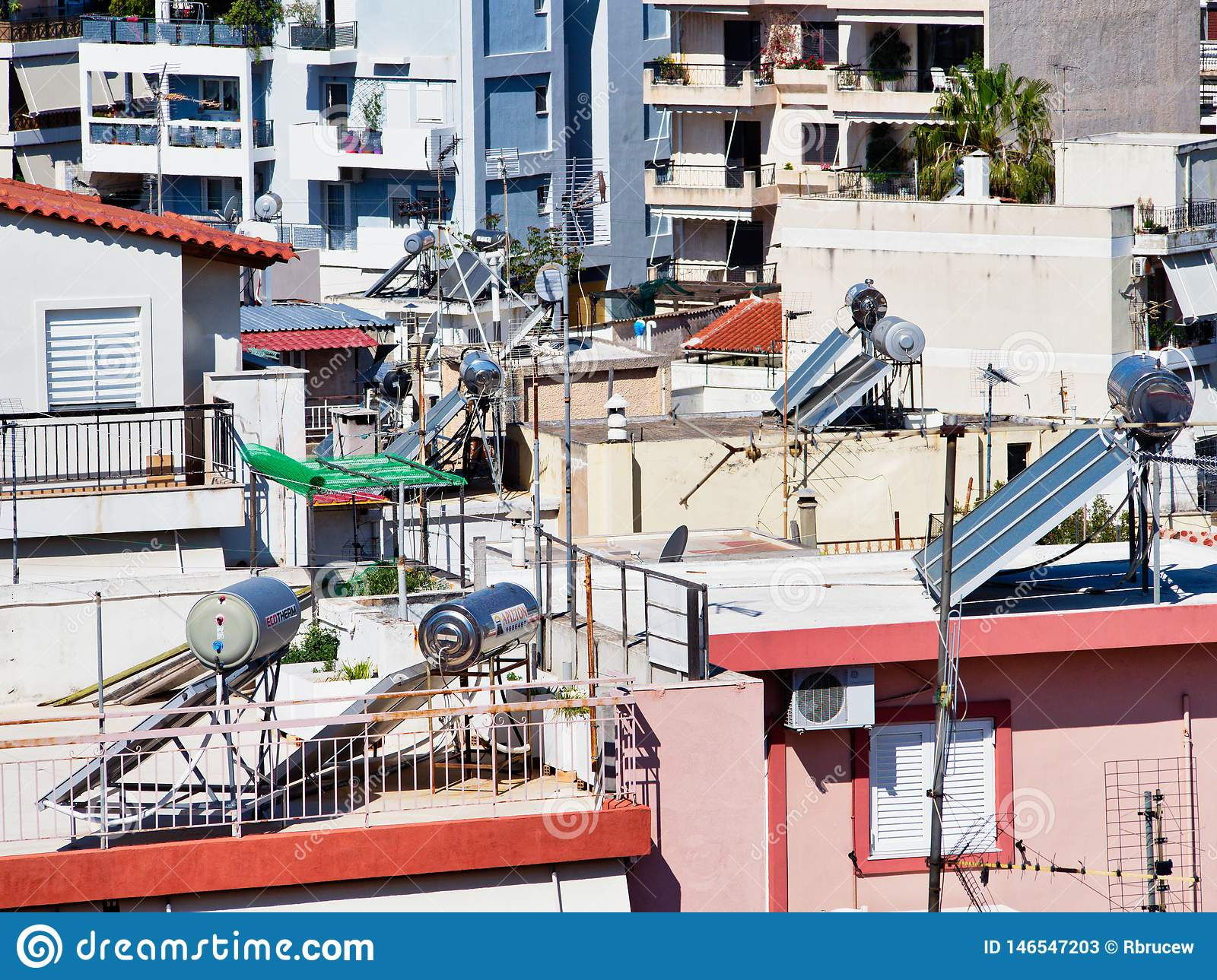 Solar Hot water Systems on High Density Athens Houses, Greece