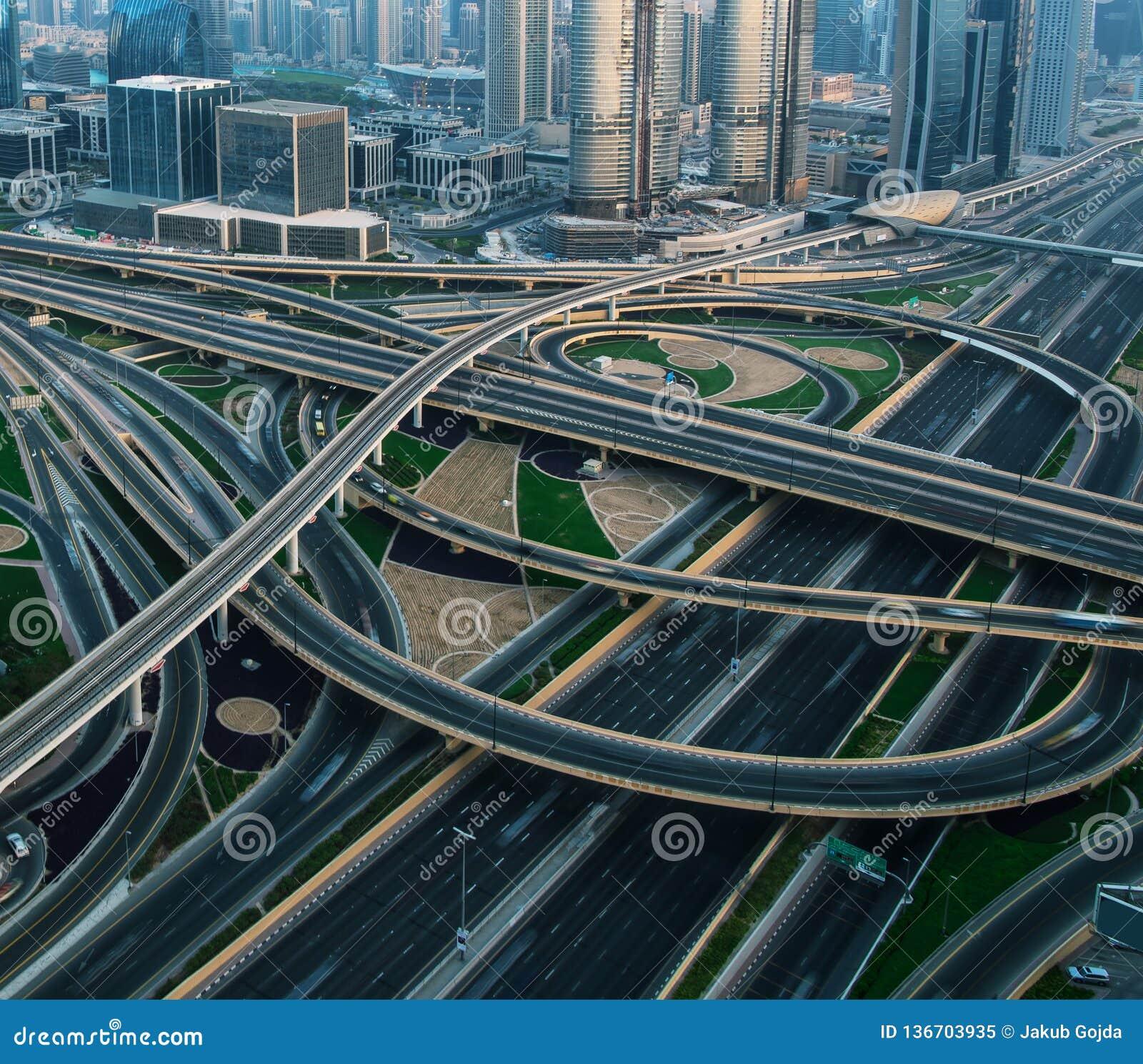 Detail Of Highway Crossroad In Dubai Stock Image