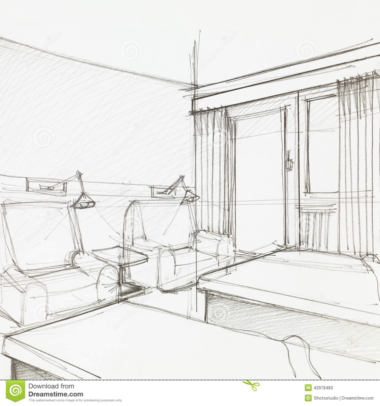 Detail of hotel room stock illustration image 42978483 for Camere albergo dwg