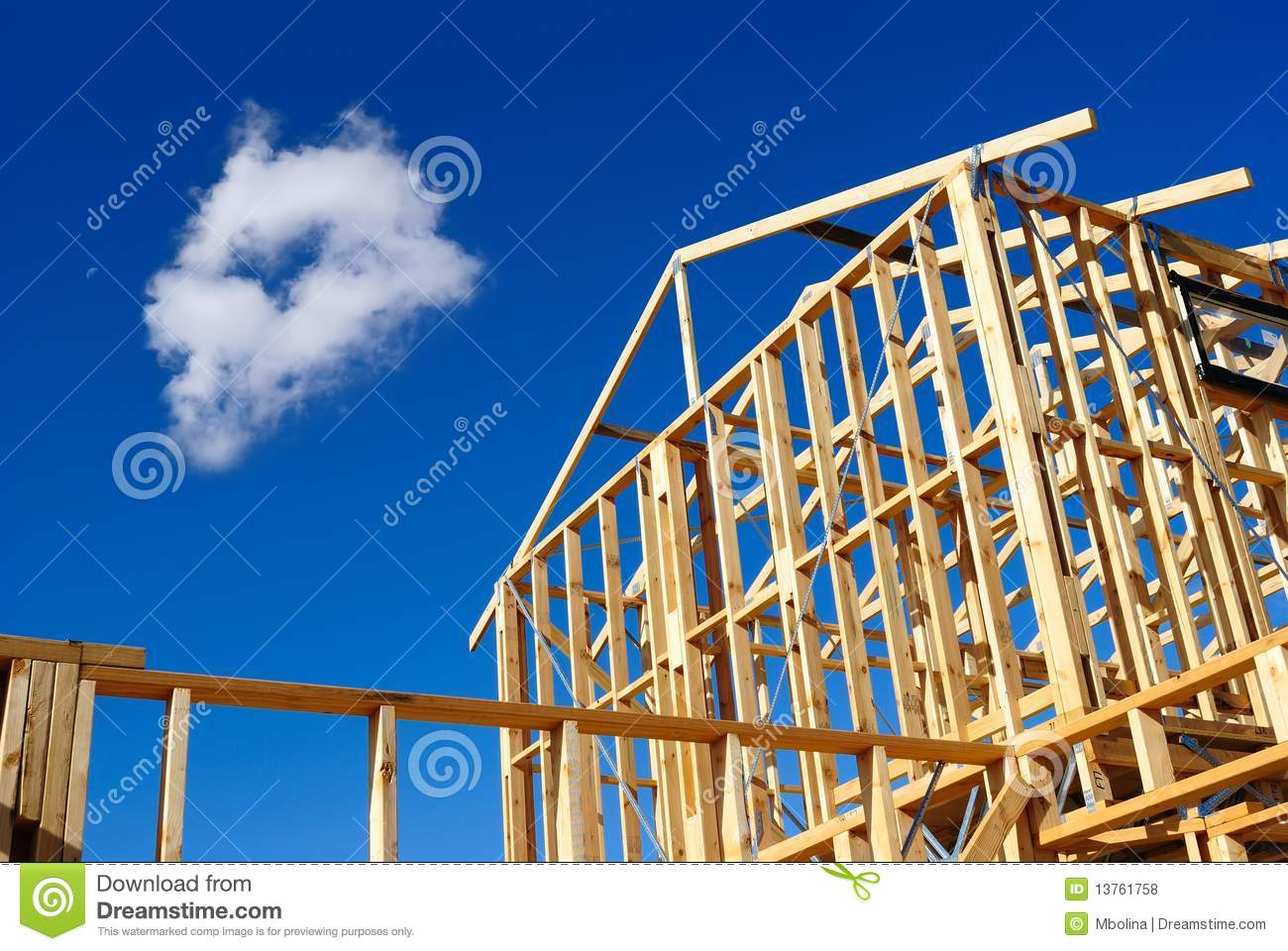 Detail of house frame under construction royalty free for What to consider when building a house