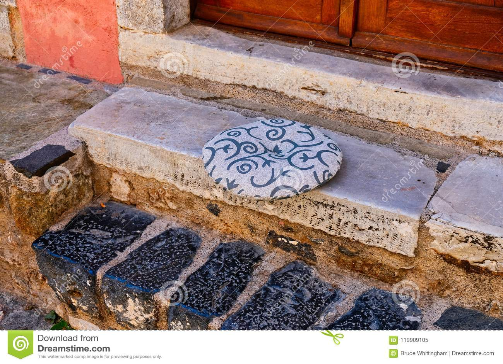 Round Cushion on Marble Step, Monemvasia, Greece
