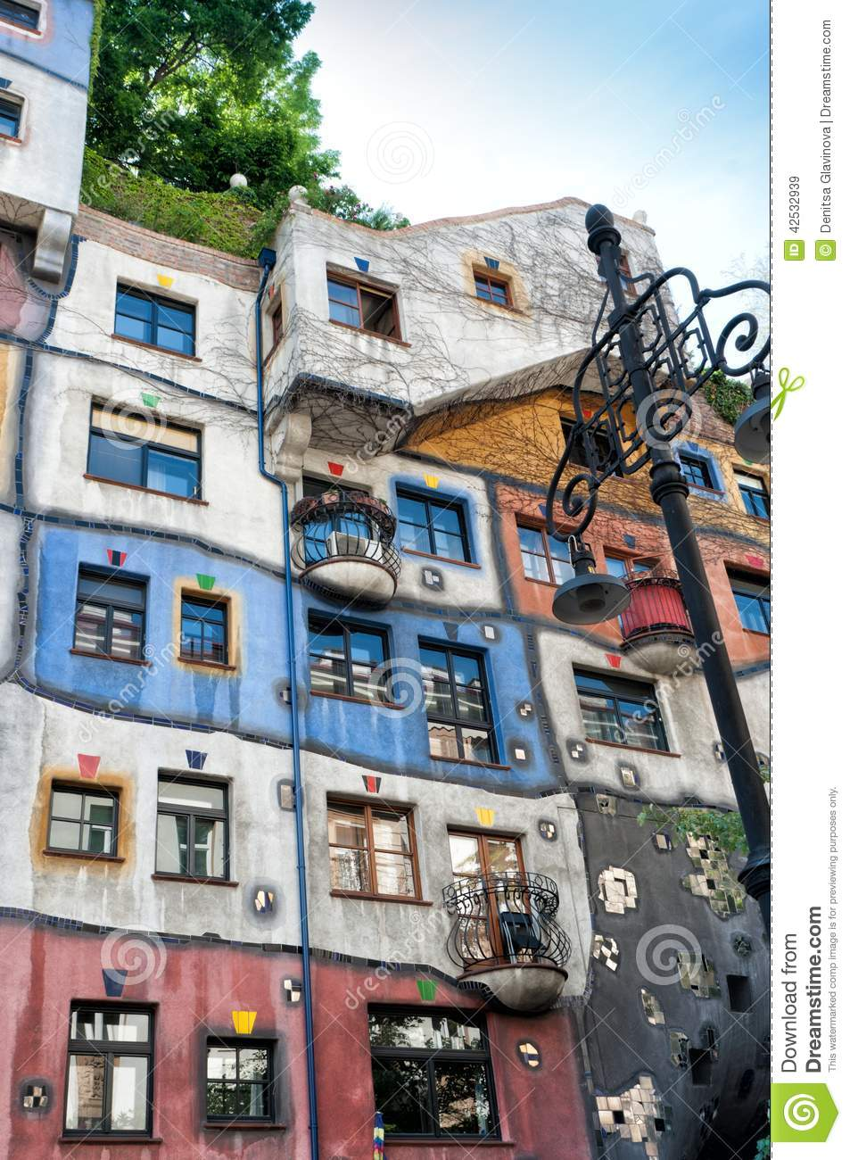 Detail from Hundertwasser House in Vienna
