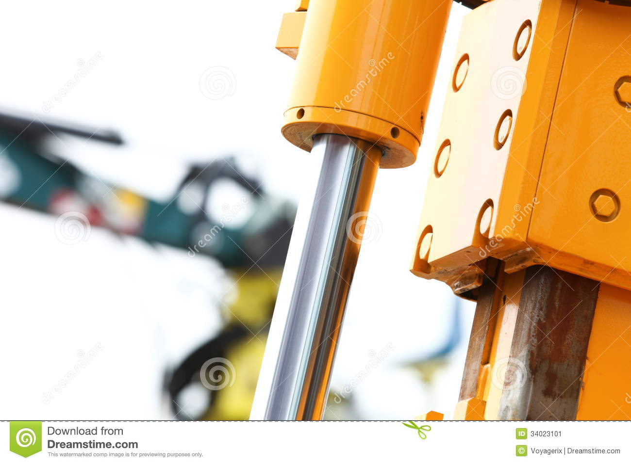 Hydraulic Arm Door Detail : Detail of hydraulic bulldozer white background stock image