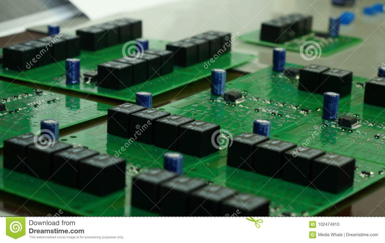 Detail Of Integrated Circuit Board With Chip Stock Photo Closeup A Hard Disk