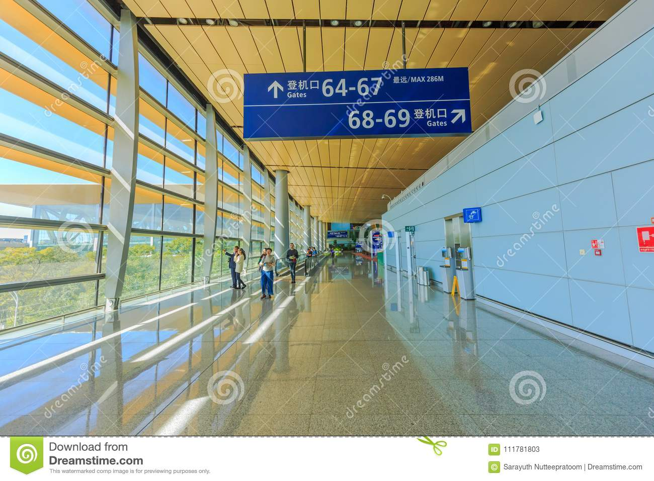 Detail of interior of kunming changshui airport where passengers get ready for their departures