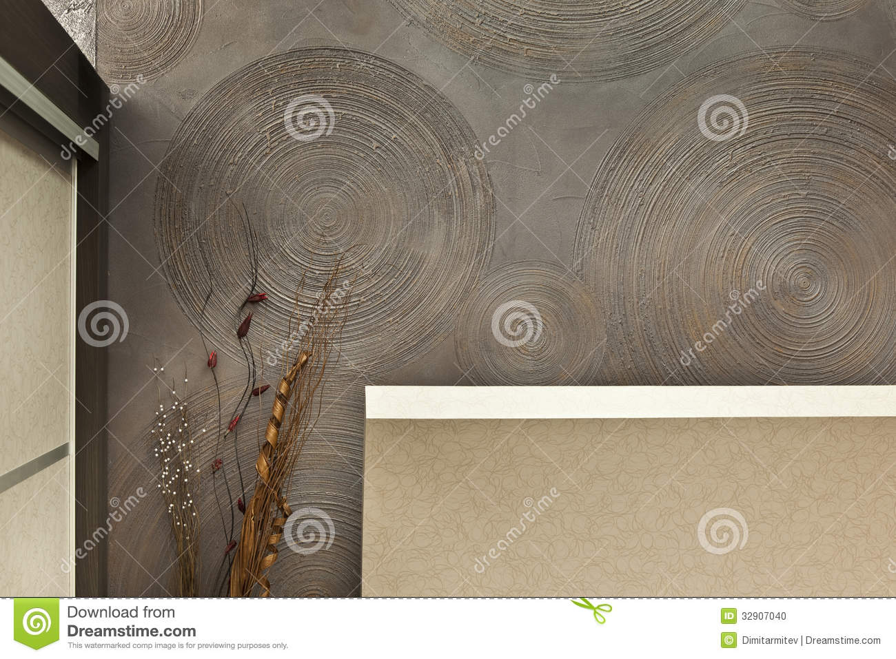 Decorative Interior Plastering : Detail of interior stock photo image