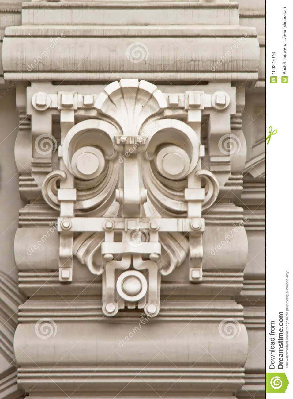 Art deco style decorations with mask