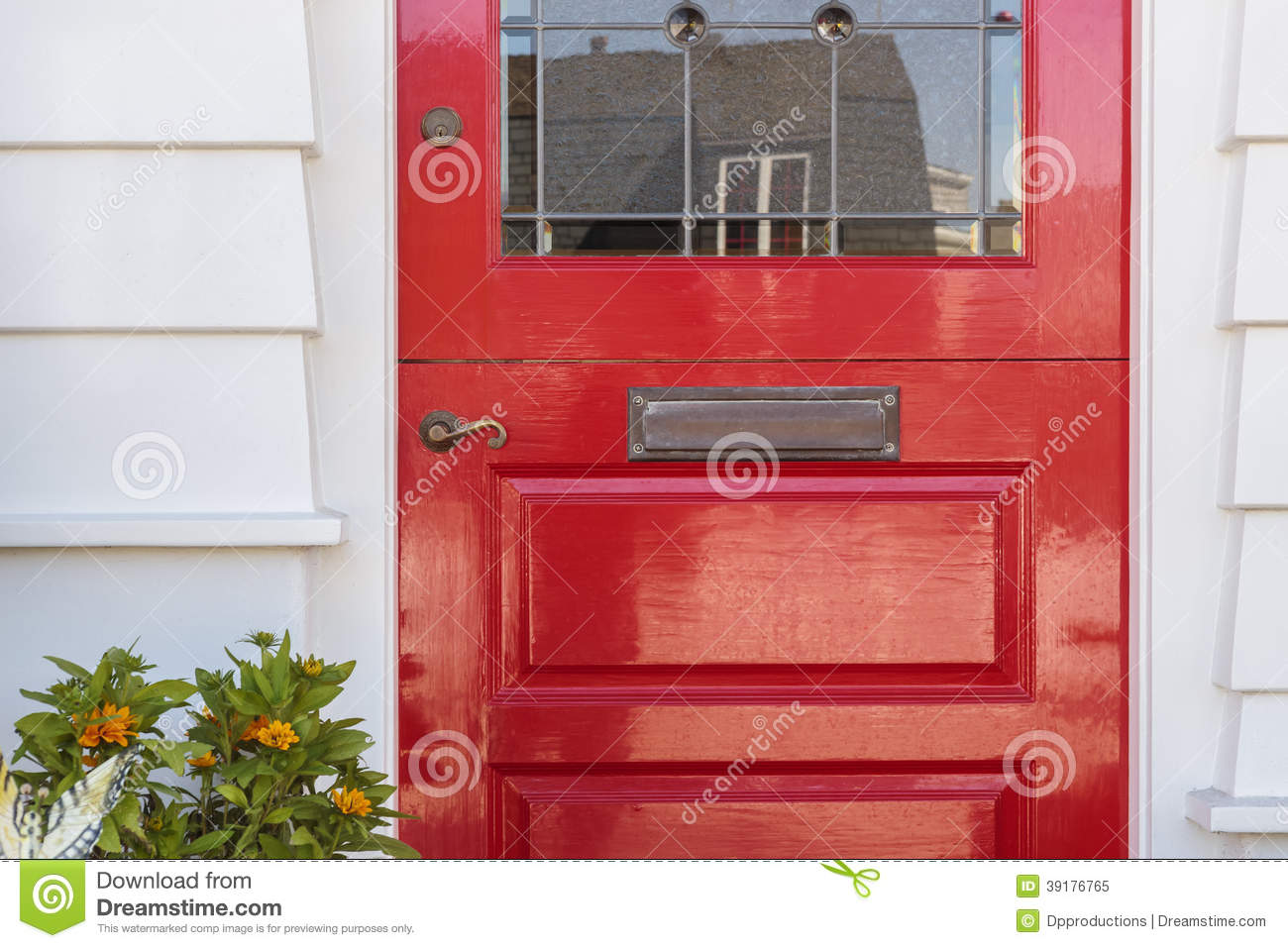 Detail Of Lacquered Red Front Door To A Home Stock Image Image Of