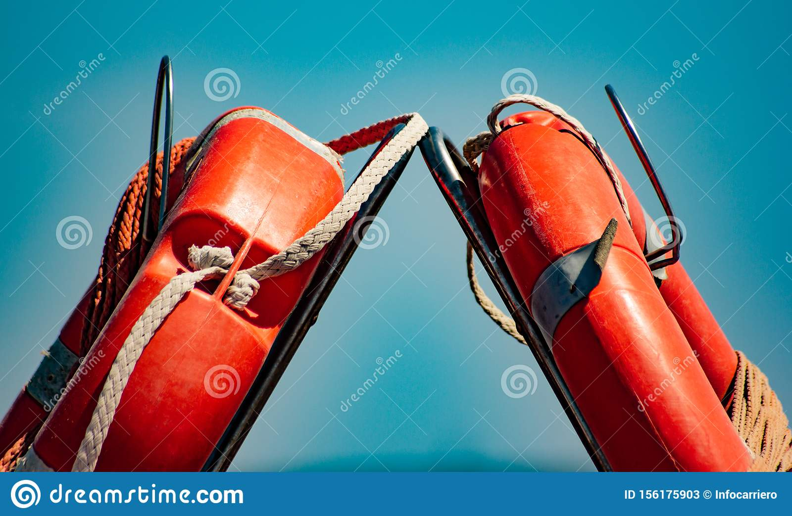 Detail of life jackets used in boats or lifeguards to save lives.