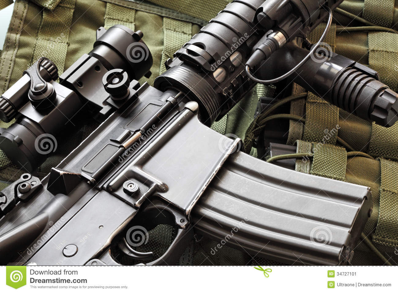 Detail Of M4A1 (AR-15) Carbine And Tactical Vest Stock ...