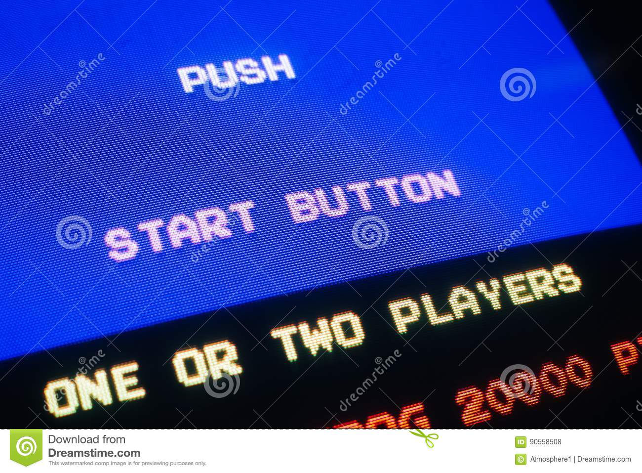 Detail Macro of an old vintage video game with text Push start button