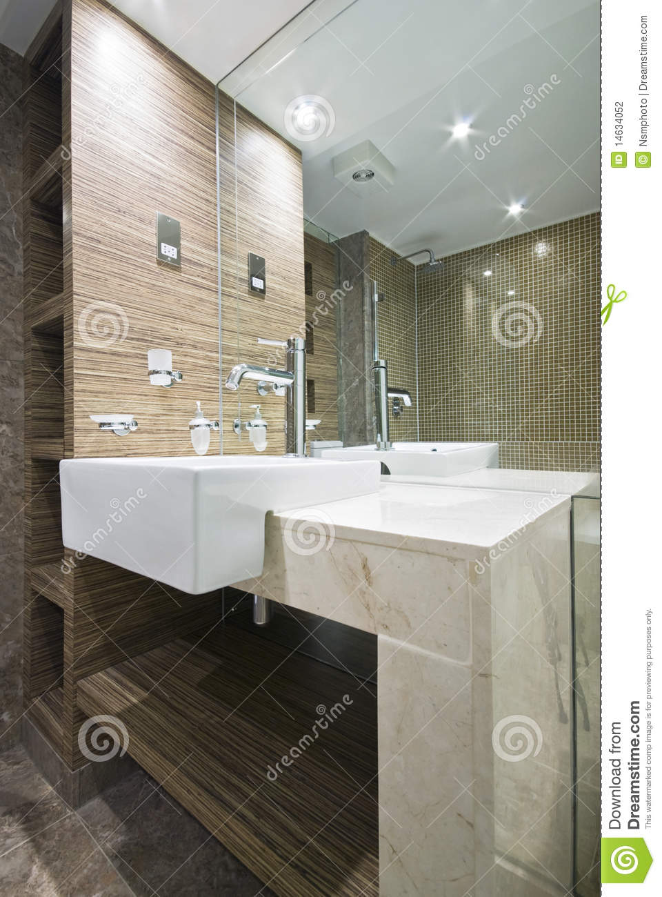 Detail Of A Marble Bathroom With Mosaic Tiles Stock