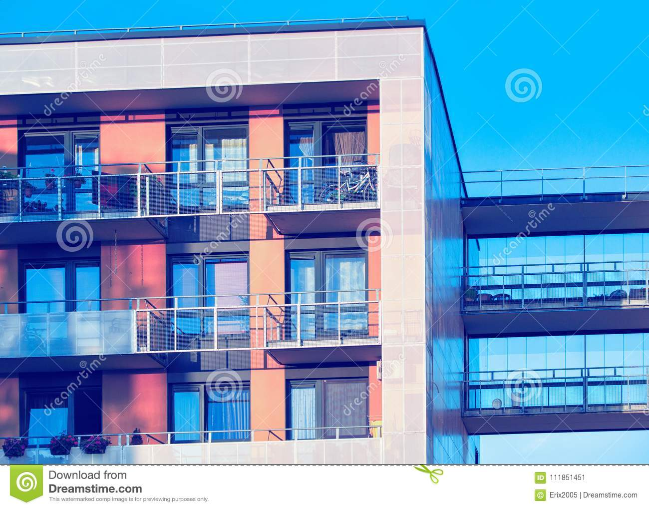 Detail of modern apartment residential building with balconies Vilnius