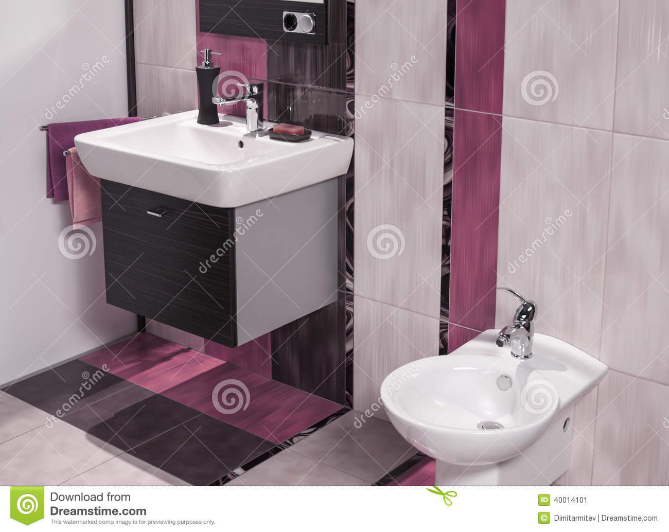 Detail of modern bathroom with sink and bidet stock photo for Detail in contemporary bathroom design