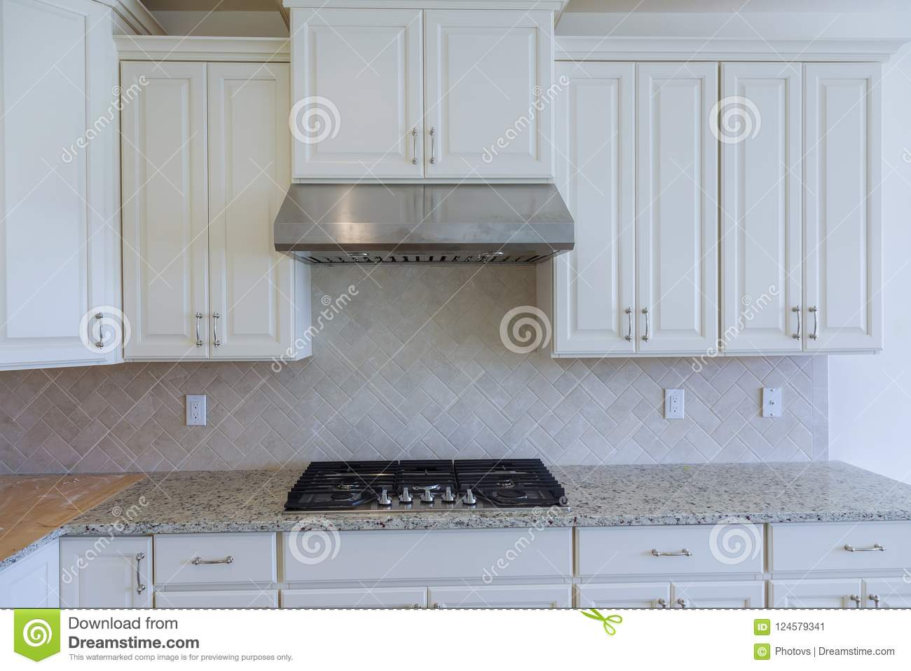 Empty Tiled Kitchen With Dish Stainless Steel Appliances Stock Image ...