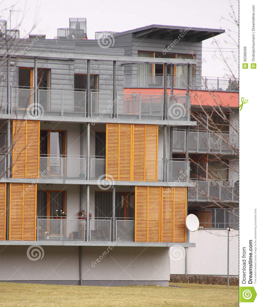 Detail Of Modern House Facade With Wooden Shades Stock Image - Image
