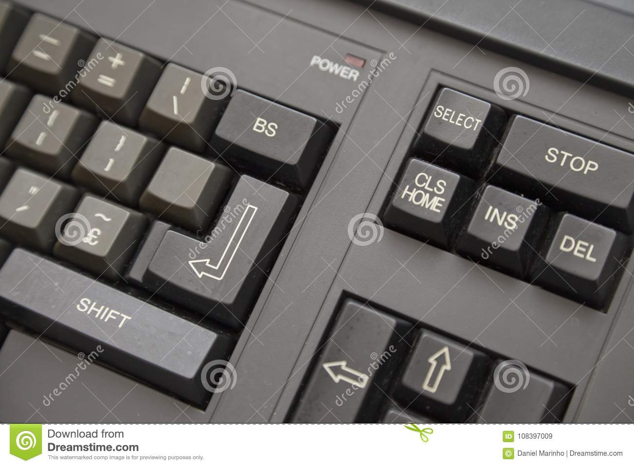 Old Computer - Keyboard Detail Stock Image - Image of power