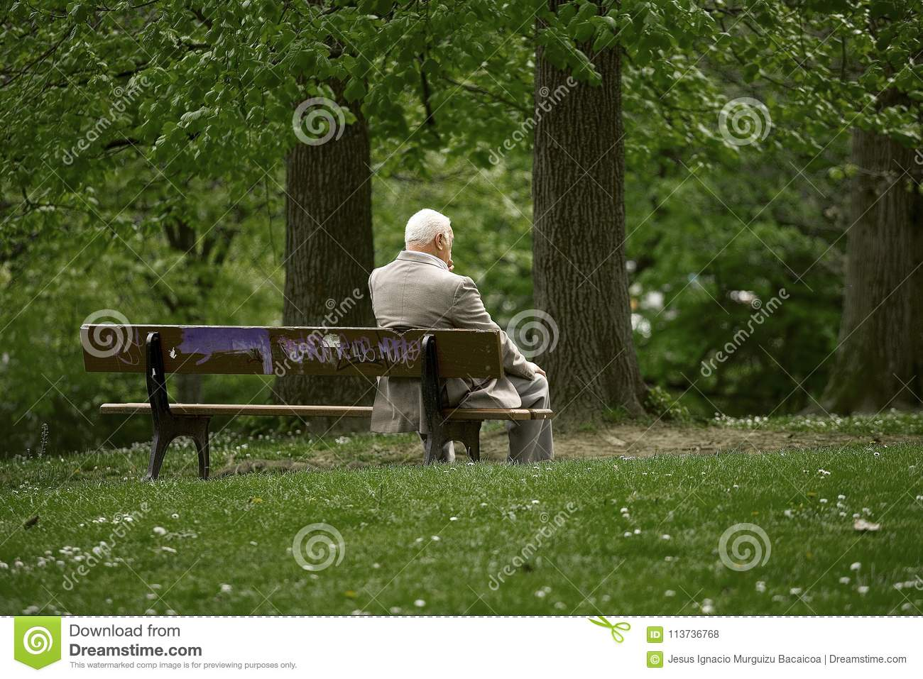 Detail Of An Old Man Resting In A Park Editorial Stock Photo