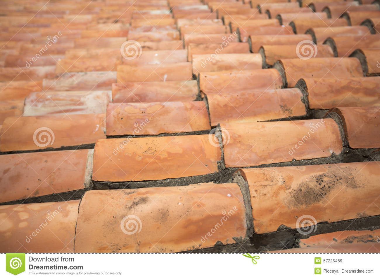 Detail Of Old Spanish Tile Roof Of Pampatar Fort On