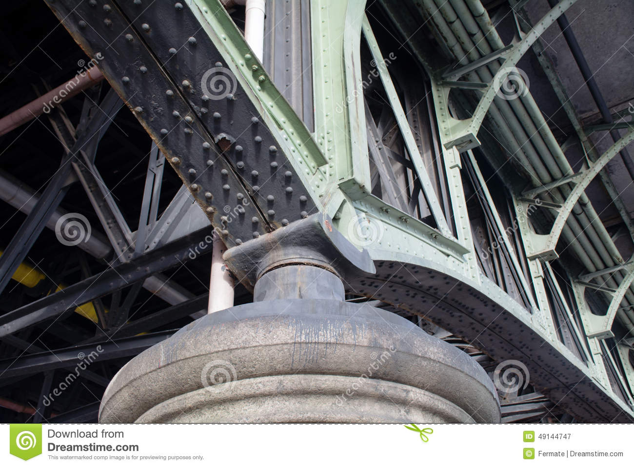 Detail Of An Old Steel Bridge Construction Stock Image