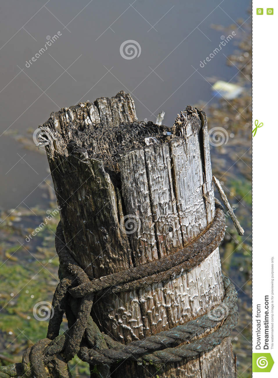 Wooden Post Texture detail of old wooden post with rope stock photo - image: 73509433