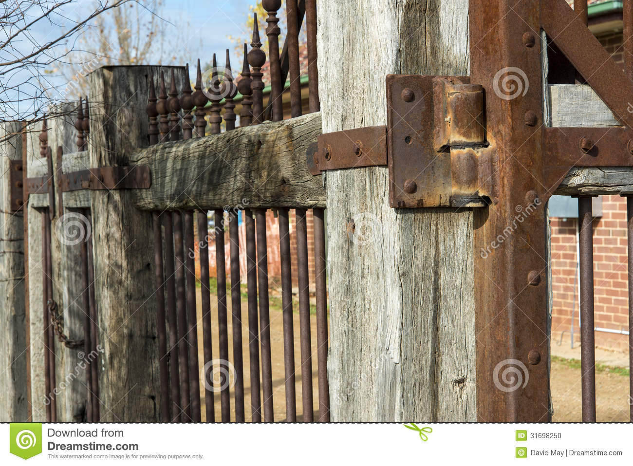 Detail Old Wooden And Rusty Metal Fence Stock Photo