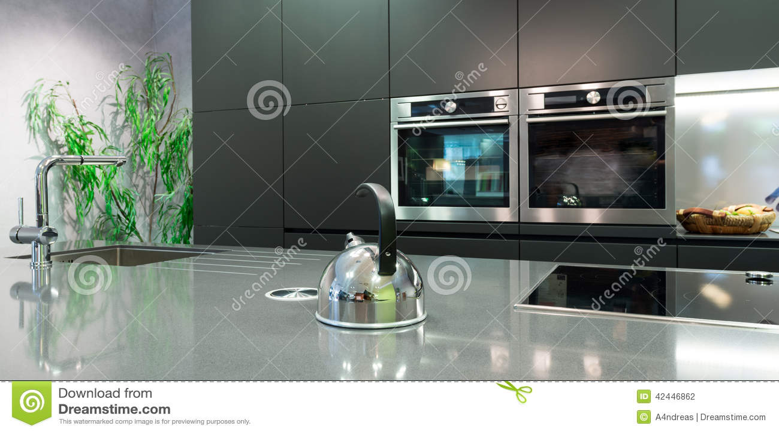 Detail over work plate of modern kitchen