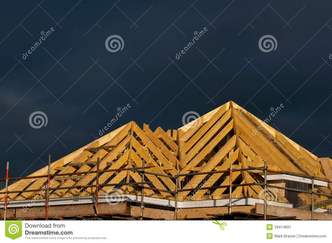 Detail Of Pitched Roof Construction Stock Image Image