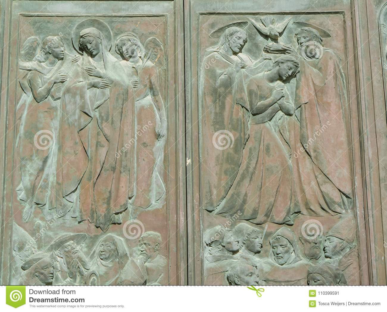 Detail of the main door of Siena Cathedral, Italy