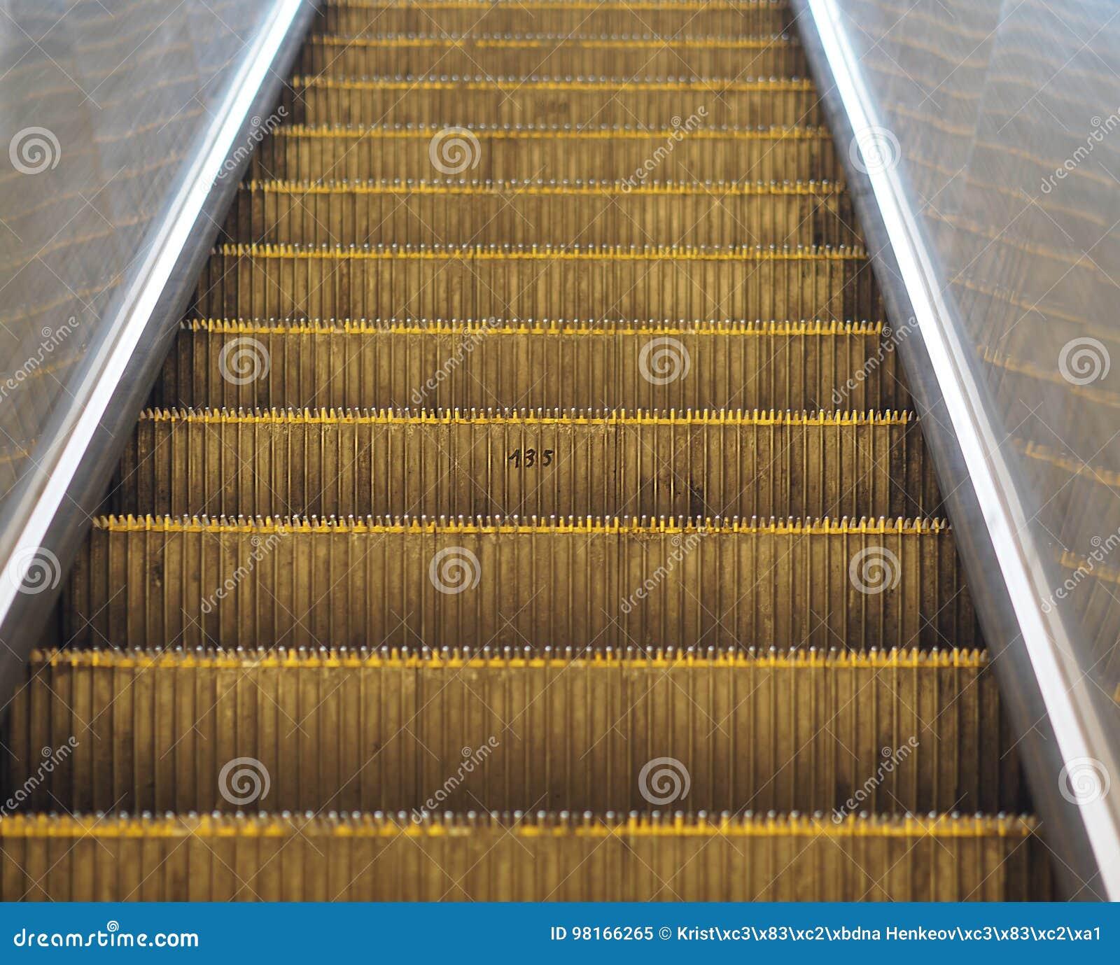 Detail Of Prague Escalator In Subway Moving Staircase