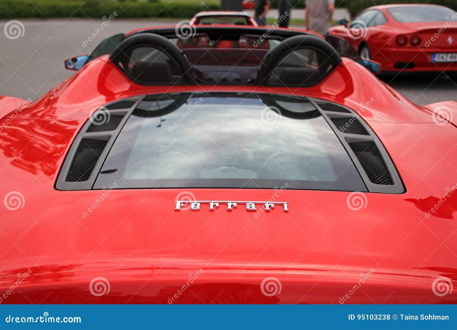 Detail Of Red Ferrari Engine Editorial Stock Photo , Image