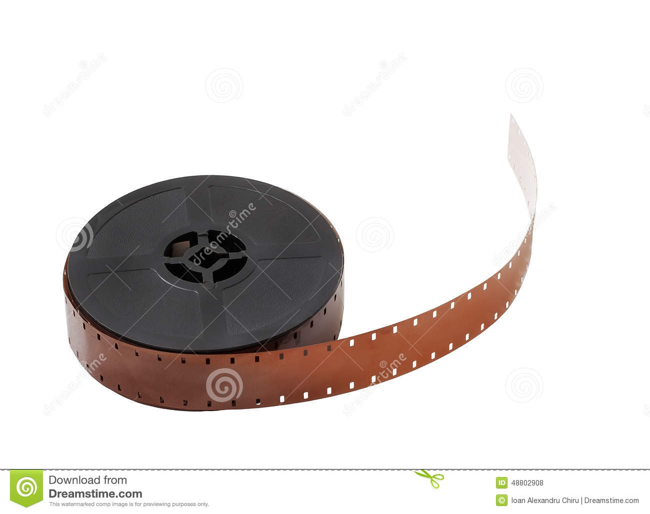 Detail of a reel of 16mm film isolated on white background