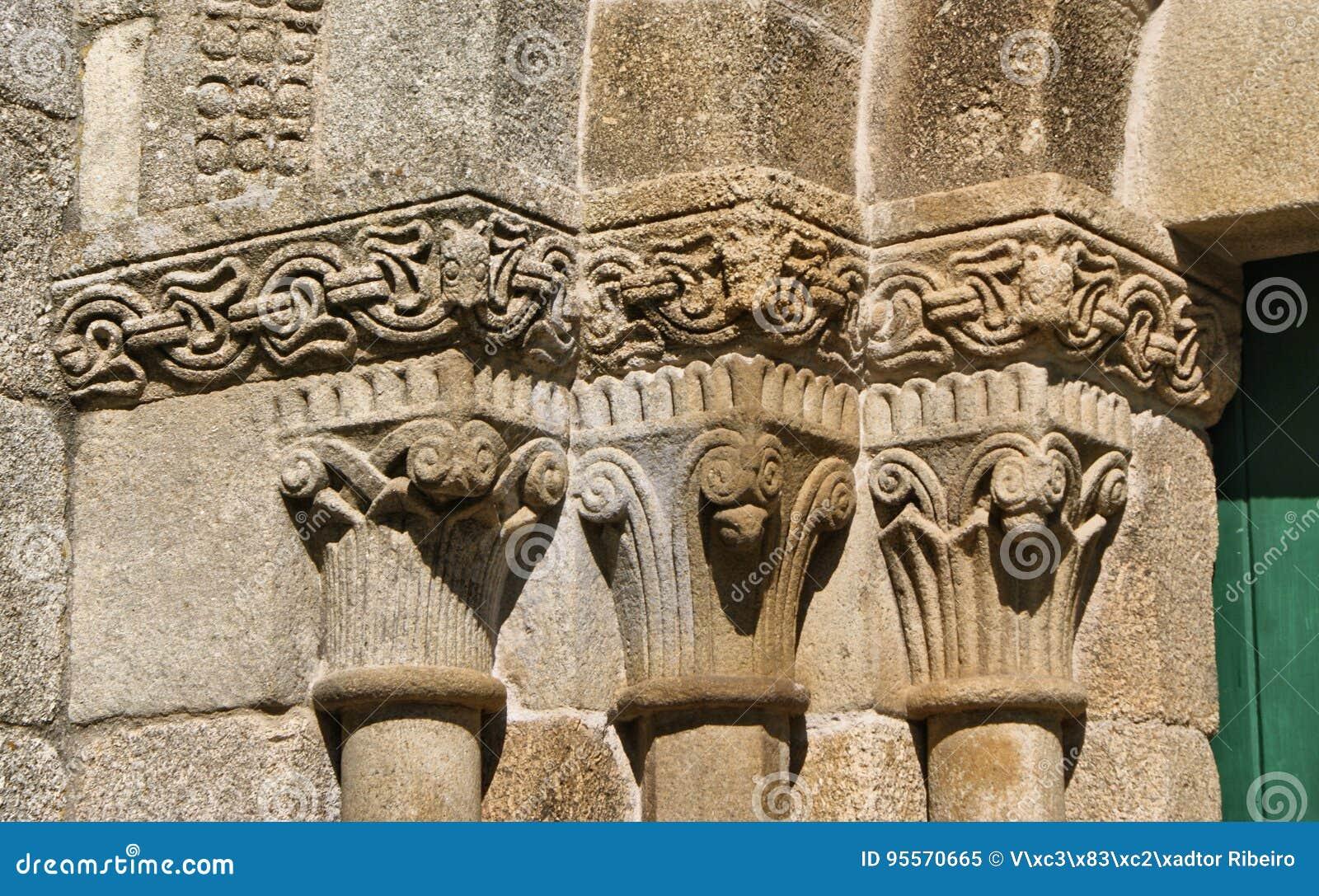 Detail of romanesque monastery of Sao Pedro de Ferreira