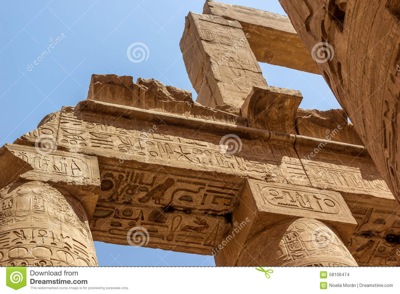Detail Of Roof Temple Of Karnak, Stock Photo - Image of